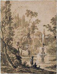 Widok włoskiego parku z fontanną