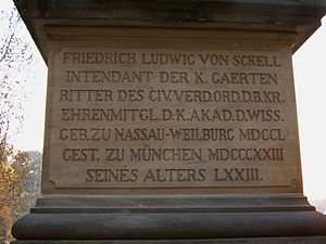 Friedrich Ludwig von Sckell - Inscription on the Memorial to Ludwig von Sckell in the Englischer Garten, Munich