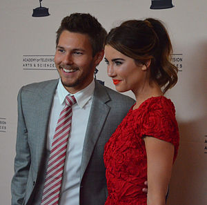Steffy Forrester - Wood with co-star Scott Clifton in 2013.