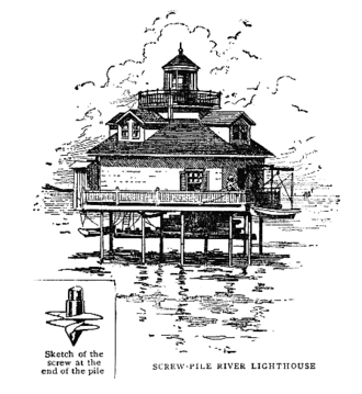 Screw-pile lighthouse - Screw-pile lighthouse from Sea Stories, publ. 1910 by Century Co. N.Y.