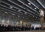 Secretary of the Navy addresses the crew of USS Gerald R. Ford during an all-hands. (36366158731).jpg