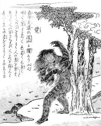 "Satori (folklore) - ""Satori"" from the Konjaku Gazu Zoku Hyakki by Sekien Toriyama"