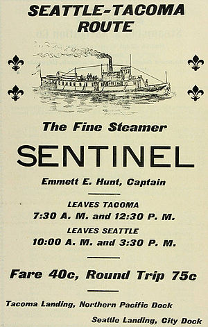 Hunt Brothers (steamboat line) - Advertisement for Hunt Brothers steamer Sentinel