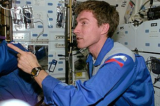 Timex Datalink - Cosmonaut Sergei Krikalev wearing the Timex Ironman Triathlon Datalink model 78041 during a visit aboard the Space Shuttle Endeavour.