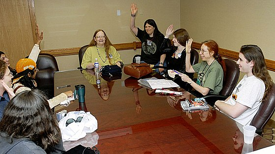 Pamela Dean reading at the Minneapolis convention known as Minicon in 2006 Sfcon-reading-ddb.jpg