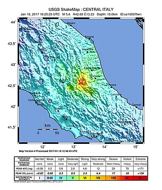 January 2017 Central Italy earthquakes - Shakemap of the strongest earthquake on 18 January 2017.