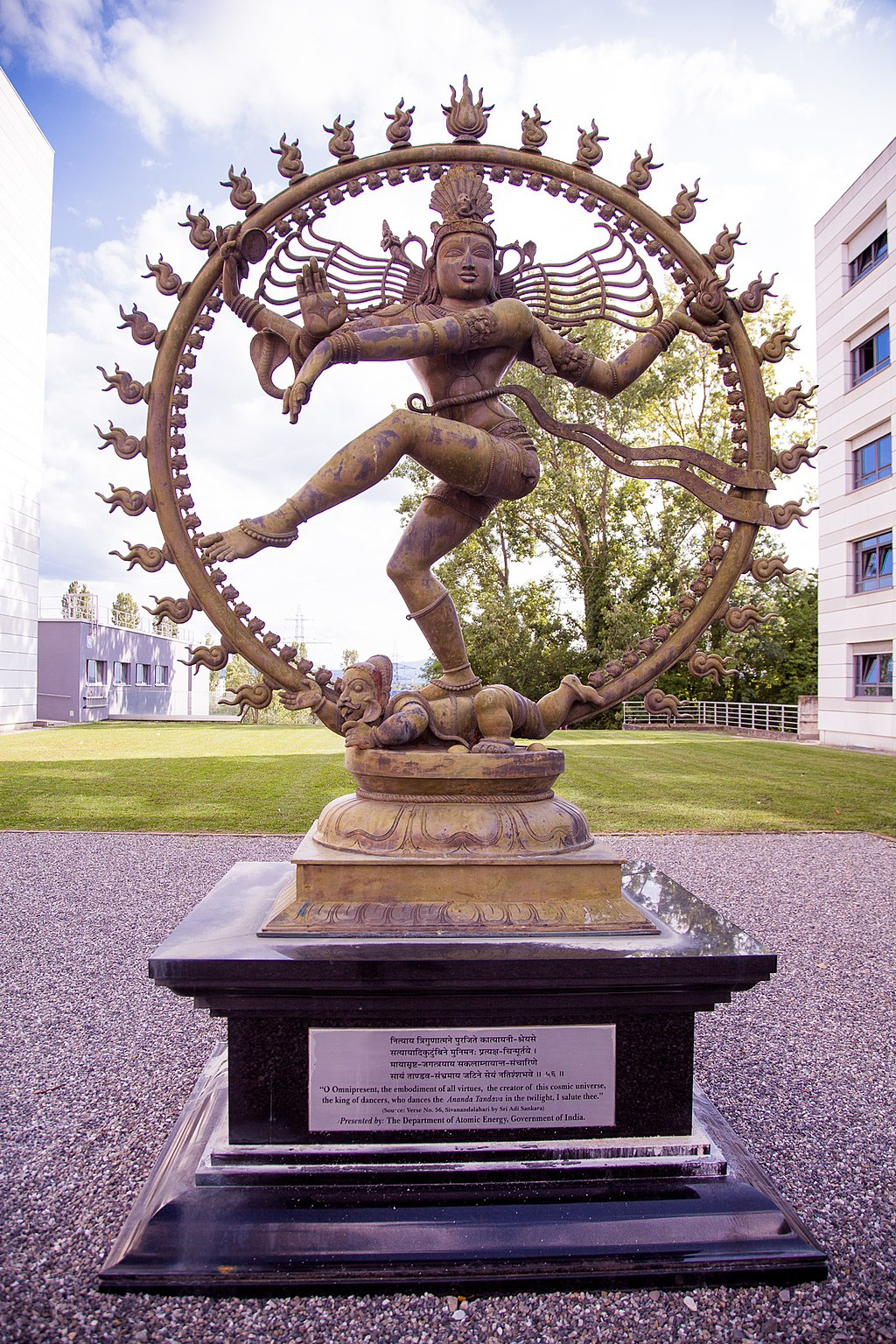 Shiva's statue at CERN engaging in the Nataraja dance