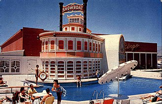 Castaways Hotel and Casino - Showboat facade and swimming pool, seen in 1961