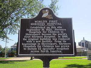 Shriners Hospitals for Children - Historical marker noting location of first Shriners Hospital (1922) off King's Highway in Shreveport, Louisiana