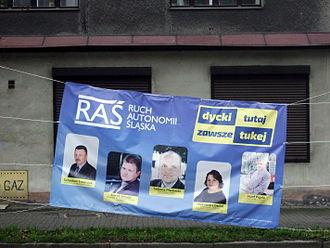 Silesian Autonomy Movement - A campaign poster of the Silesian Autonomy Movement displayed in Zabrze in 2014