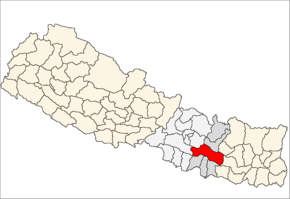 Sindhuli District i Janakpur Zone (grå) i Central Development Region (grå + lysegrå)
