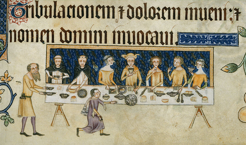 File:Sir Geoffrey Luttrell at table - Luttrell Psalter (c.1325-1335), f.208 - BL Add MS 42130.jpg
