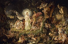 "The Quarrel of Oberon and Titania is an oil painting on canvas by the Scottish artist Joseph Noel Paton. Painted in 1849, it depicts the scene from William Shakespeare's comedy play A Midsummer Night's Dream, in which the fairy queen Titania and fairy king Oberon quarrel. When exhibited in Edinburgh in 1850, it was declared the ""painting of the season"". The painting was acquired by the National Galleries of Scotland in 1897, having initially been bought by the Royal Association for Promoting the Fine Arts."