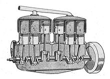 Sectioned drawing of a six-cylinder engine, showing the head and cylinders as two triplets, with monobloc water jackets.