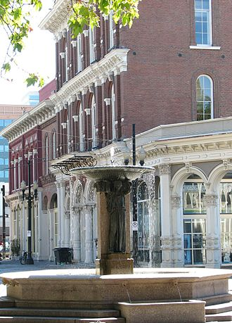 Old Town Chinatown - Skidmore Fountain, and the New Market Block in the background