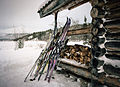 Skis and woodpile at Lindeman cabin (11764678684).jpg