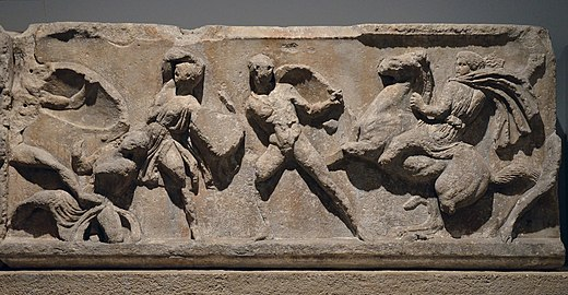 Slab from the Amazonomachy frieze from the Mausoleum at Halikarnassos 03.jpg