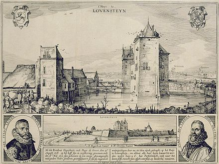 Loevestein Castle at the time of Grotius' imprisonment in 1618-21 Slot loevestein 1619.jpg
