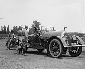 Smedley Butler - Butler sitting in car at Gettysburg during a Pickett's Charge reenactment by Marines in 1922