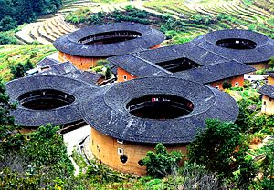 English: Fujian Tulou (earth buildings) at Tia...