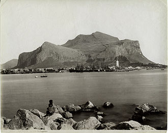 Palermo - Monte Pellegrino pictured at the end of the 19th century; the mountain is visible from everywhere in the city
