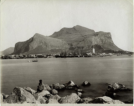 Monte Pellegrino pictured at the end of the 19th century; the mountain is visible from everywhere in the city