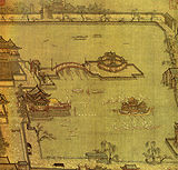 Games in the Jinming Pool, silk painting by Zhang Zerui, depiction of Kaifeng, Northern Song era.