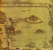 A painting of people boating in a lake. There is a small island in the center of the lake, connected to the mainland by an arched bridge. The entire lake is surrounded by a low wall.