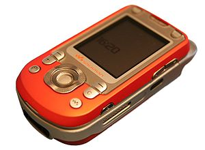 The Sony Ericsson W550i, closed, front up (bac...