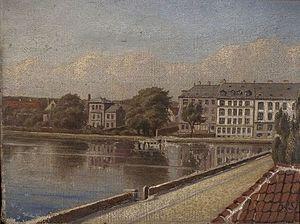 Sortedam Dossering - The end of Sortedam Dossering viewed from Østerbrogade, c. 1780