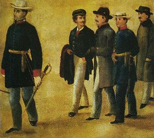 Military career of Simón Bolívar - Soublette, Pedro Briceño Méndez, Francisco Antonio Zea, Gregor MacGregor and Brión in Ocumare. 19th century illustration by Carmelo Fernández.
