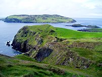 The Calf of Man seen from Cregneash.