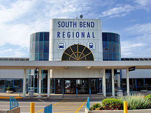 South Bend International Airport - Front of airport terminal, June 2005