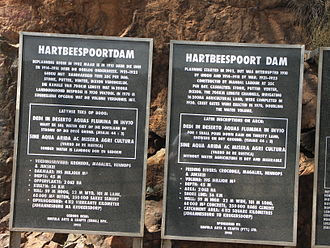 Hartbeespoort Dam - Plaque located at the dam wall gives a short history of the dam.