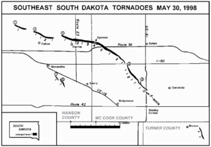Late-May 1998 tornado outbreak and derecho - NWS damage survey map tracking the tornado families in southeast South Dakota