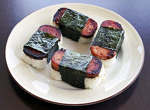 "Japanese loanwords in Hawaii - Spam musubi made from SPAM. (see definition for ""musubi"" below)."