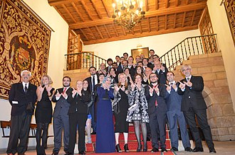Asturian Wikipedia - Wikipedians meeting after Awards ceremony.