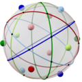 Spherical icosidodecahedron with colored cicles, highlighted axes.png