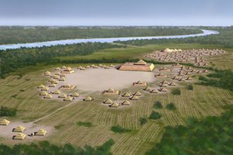 Indian Territory - Artist's conception of Spiro Mounds, a Caddoan Mississippian site, as seen from the west