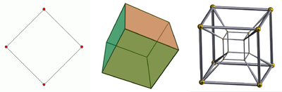 From left to right, the square has two dimensions, the cube has three and the tesseract has four.