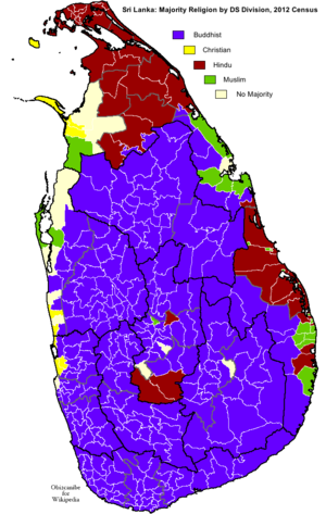 Demographics of Sri Lanka - Majority religion by DS Division according 2012 census