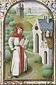 St. Fiacre of Meaux holding a book and a spade - Book of hours Simon de Varie - KB 74 G37 - 085r min.jpg