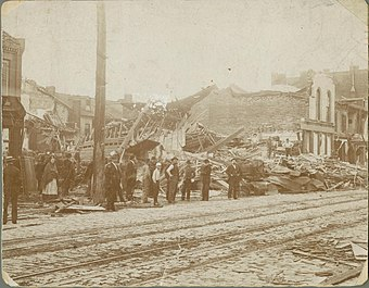 South Broadway after a May 27, 1896, tornado St. Louis, Mo. tornado May 27, 1896 south broadway.JPG