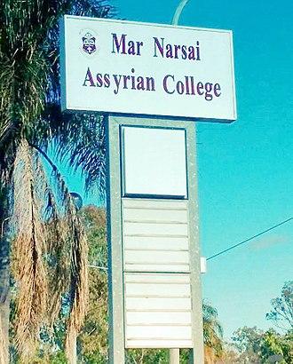 Assyrian Australians - The billboard of St Narsai Assyrian College.
