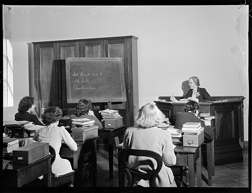 Staff training, Mitchell Building, photograph by Ivan Ives, Pix Magazine Collection A7417037h