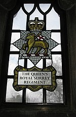 Stained glass window within the chapel for The Queen's Royal Surrey Regiment - geograph.org.uk - 1152218.jpg