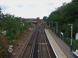 Staines railway station - From the old footbridge, the junction of the Reading (left) and Windsor (right) lines can be seen.