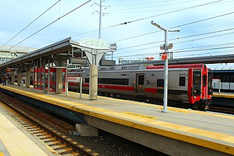 Stamford, Connecticut - Manhattan-bound Metro-North Train leaving the Stamford Transportation Center.