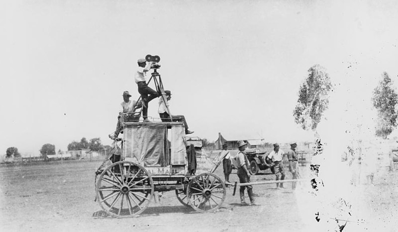 File:StateLibQld 2 144675 Motion picture filming from on top of a horsedrawn wagon, 1921.jpg