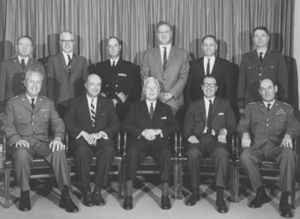 Bureau of Intelligence and Research - The United States Intelligence Board in 1965. Seated second from right is Thomas L. Hughes, then INR Director.